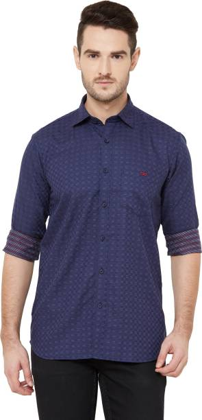 DONZELL Men Printed Casual Dark Blue Shirt
