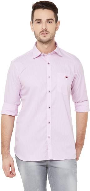 DONZELL Men Striped Casual Pink Shirt
