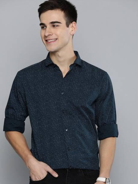 MAST & HARBOUR Men Printed Casual Dark Blue Shirt