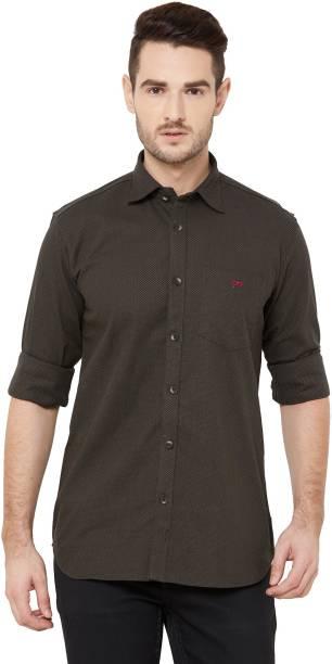 DONZELL Men Self Design Casual Brown Shirt