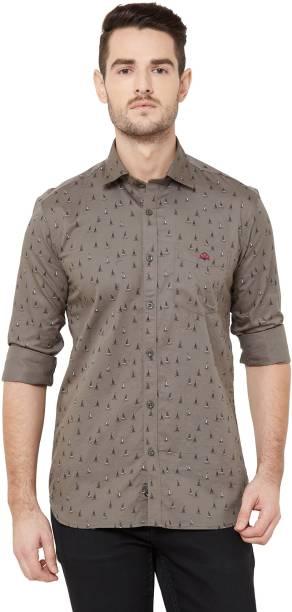 DONZELL Men Printed Casual Grey Shirt