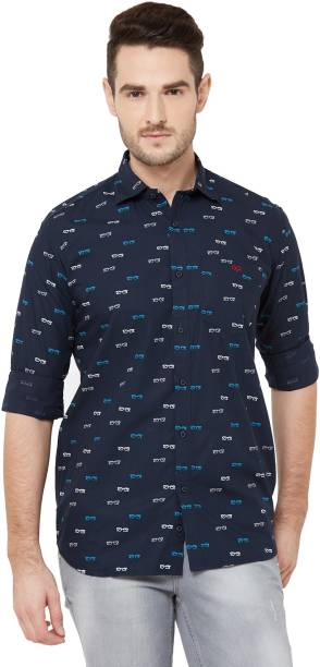 DONZELL Men Printed Casual Black Shirt