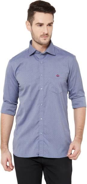 DONZELL Men Self Design Casual Light Blue Shirt