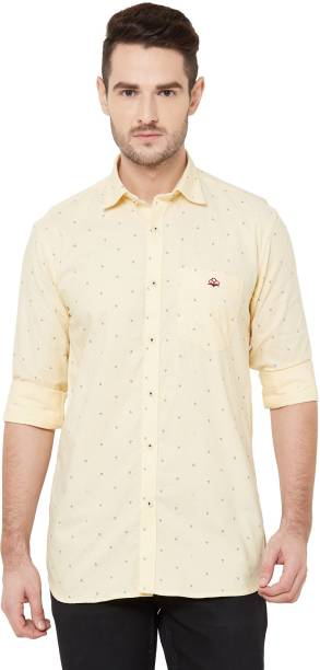 DONZELL Men Printed Casual Yellow Shirt