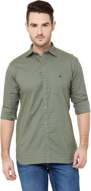 DONZELL Men Printed Casual Green Shirt