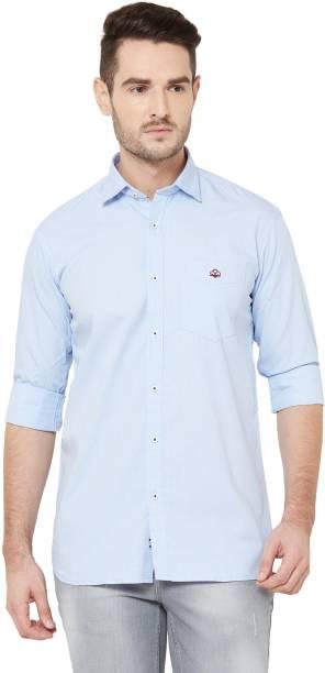 DONZELL Men Checkered Casual Light Blue Shirt
