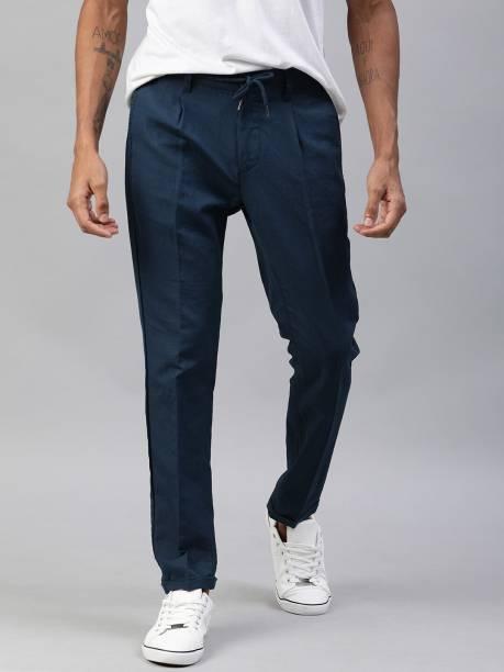 MAST & HARBOUR Regular Fit Men Dark Blue Trousers