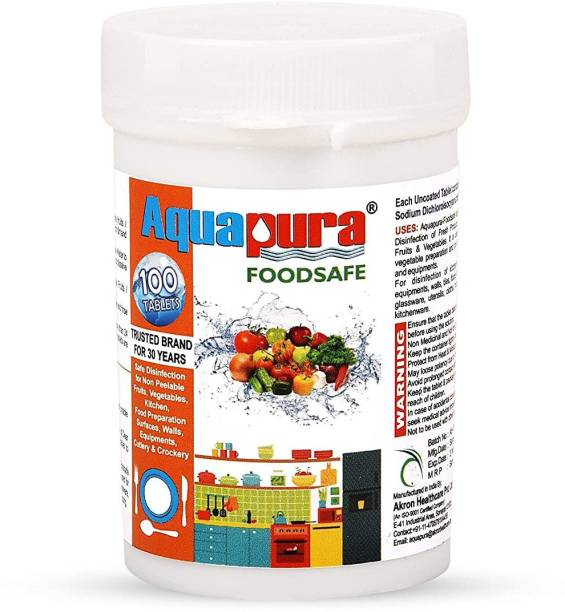 Aquapura Foodsafe, 100 Tablets Pack (90 Days Supply), Disinfection Tablets for Fruits/Vegetables/Cutlery/Crockery/Kitchen Surface & Equipments, Shelf Life & Warranty of 3 Years