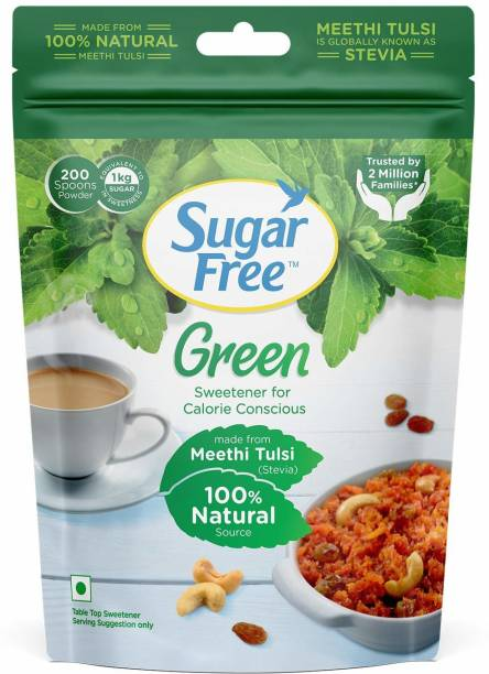 Sugar free Green 100% Natural Made From Stevia - 200gm Pouch - Pack of 2 Sweetener