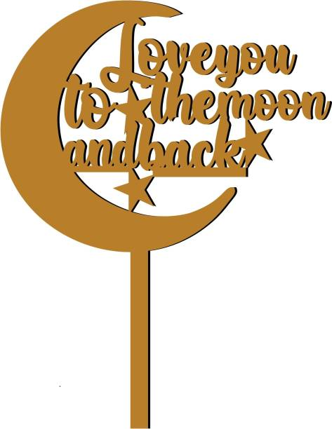 """Creatick Studio """"Love you to the moon and back"""" Cake Topper / Cake Decoration Item / Special Cake Decoration for Kids Wife Husband Friend cousin - Pack of 1 Cake Topper"""
