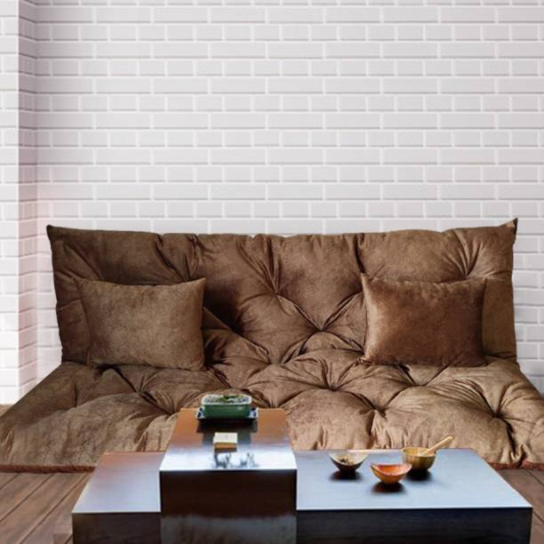 HAPPY HOME Sweat Leather 3 Seater Sofa Mattress for Balcony Travel and Bunk Seat 3.2 inch Single Fiber Mattress