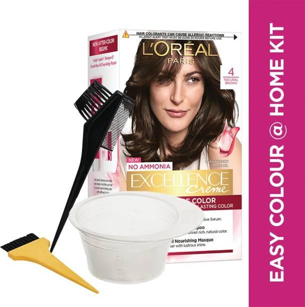 L'Oréal Paris Excellence Creme Hair Color, 4 Natural Brown With Bowl & Brushes