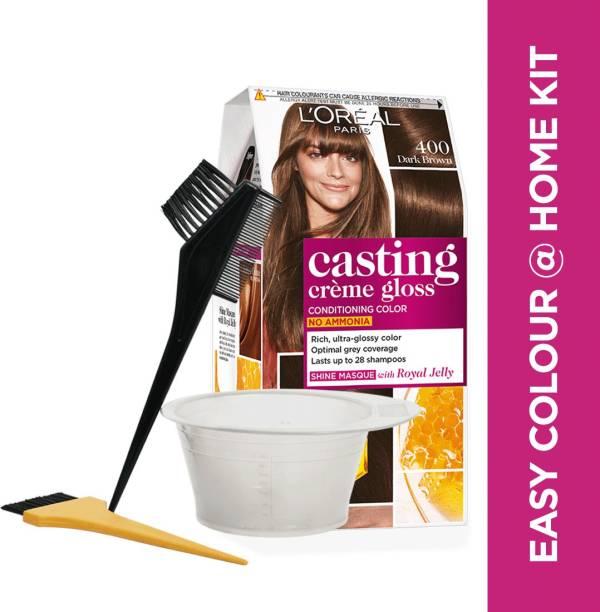 L'Oréal Paris Casting Creme Gloss, 400 Dark Brown With Bowl & Brushes