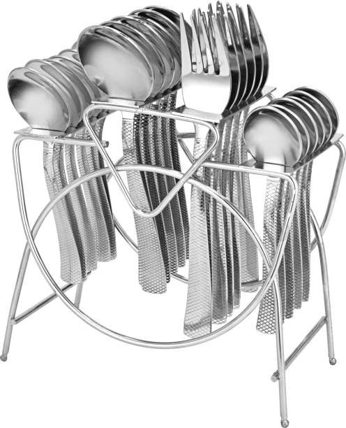 Parage Artic Stainless Steel Cutlery Set- Set of 25 (Contains: 6 Table Spoons, 6 Forks, 6 Tea Spoons, 6 Master Spoons, 1 Stand), Silver Stainless Steel Cutlery Set