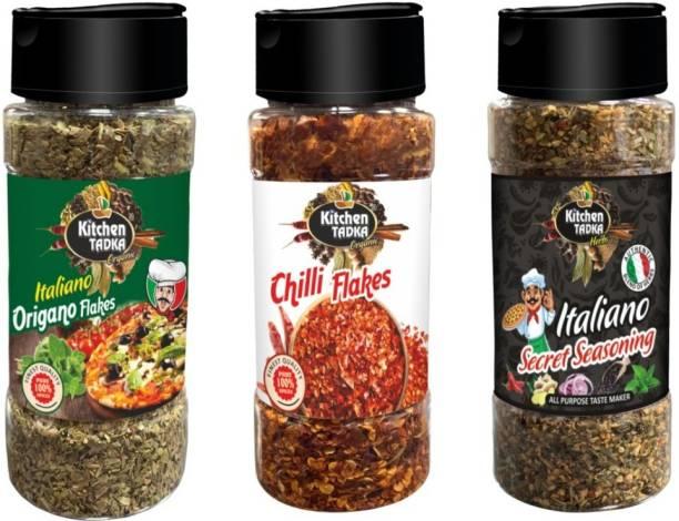 KITCHEN TADKA All In One|Seasoning Mix|Chilli Flakes|Oregano|Italian|Seasoning|Mixed Herbs|Combo|Pack of 3|100 gm Each