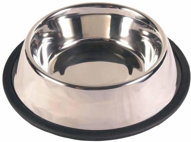 Black Apple Round Stainless Steel Pet Bowl