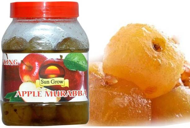 Sun Grow Organic Homemade Sweetish Kashmiri Green Apple Murabba With Elaichi (Immunity Booster Pack) 1Kg Apple Murabba