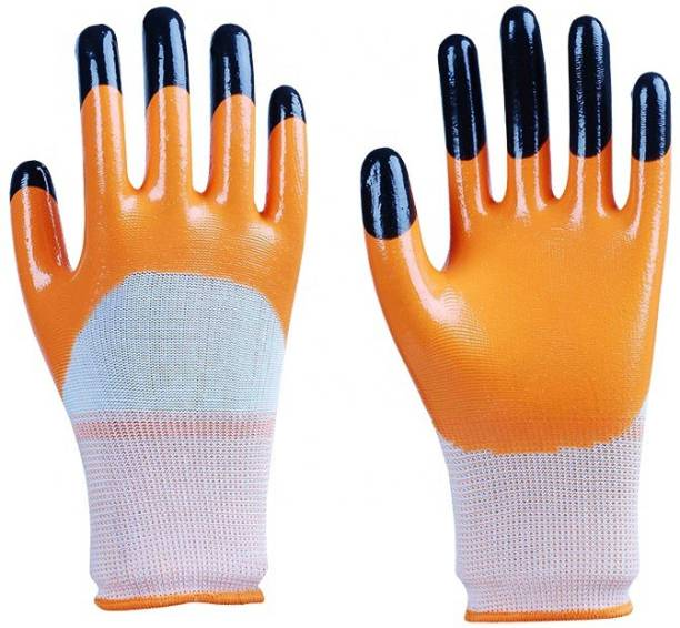 SS & WW TIGER PRINT LATEX PALM COATED HAND SAFETY GLOVES PACK OF 1 PAIR Latex  Safety Gloves