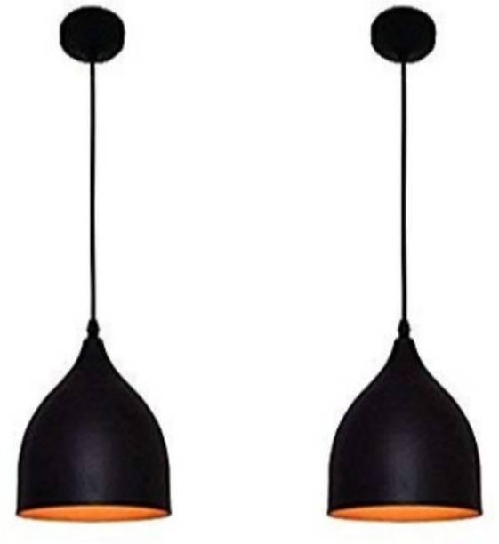 LazyHomez Pendant Ceiling Lights E27 Single Head Vintage Black Hanging Light for Dining Restaurant Bar Cafe Pack of 2 (Black, Bulb not Included) Pendants Ceiling Lamp