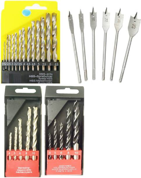 Inditools set of 13pc HSS bits 5pc masonry bits 5pc wood drill and 6pc flat wood bits