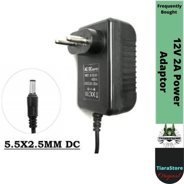 TechSupreme 12V 2A Power Adaptor, Power Supply Ac Input 100-240V Dc Output 12Volt 2Amps Worldwide Adaptor 12 W Adapter