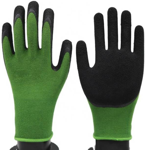 SS & WW GRENN BLACK LATEX PALM COATED HAND GLOVES PACK OF 1 PAIR Latex  Safety Gloves