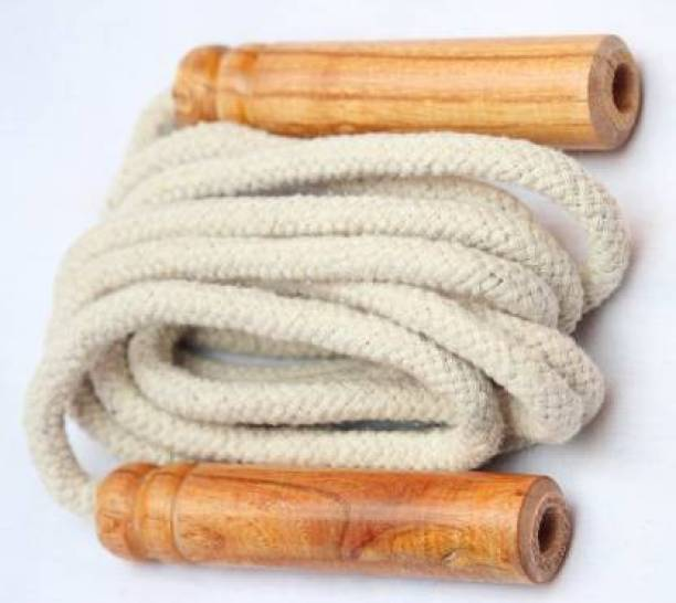Draven Adjustable Cotton Skipping Rope with Wooden Handle Freestyle Skipping Rope