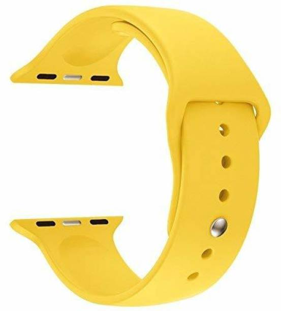 Big Wings Soft Silicone Sport Strap Band for Watch Series 5, Series 4, Series 3, Series 2, Series 1 / Soft Silicone Waterproof Strap for iWatch 38 MM / 40 MM (Yellow) (Watch Not Included) Smart Watch Strap