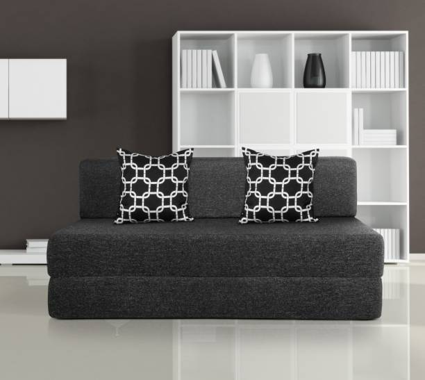 Solis Primus-comfort for all 5X6 size Sofa cum Bed for 3 Person- 3 Seater Jute Fabric Washable Cover with 2 Cushion ( Multi Chain) - Dark grey Single Sofa Bed
