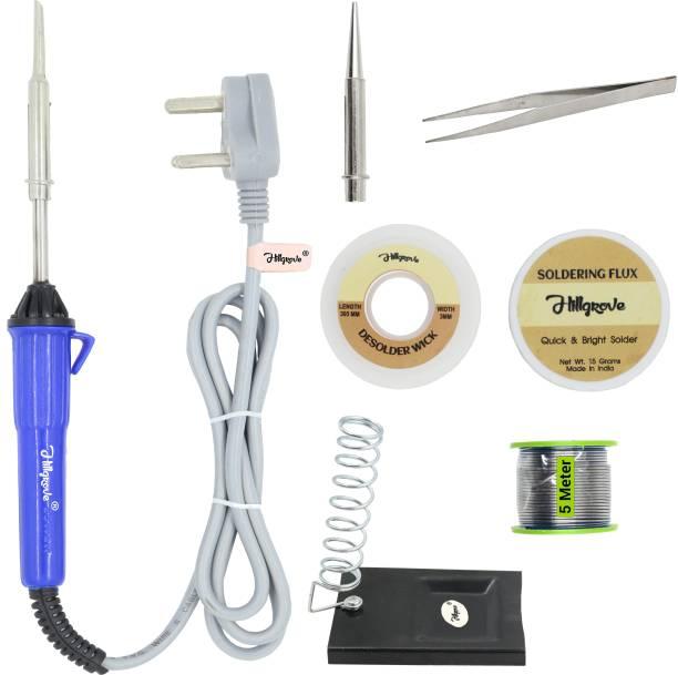 Hillgrove 7in1 25W Soldering Iron Kit | 5 Meter Soldering Wire | Pointed Bit | Soldering Flux | Stand | Wick | Tweezer 25 W Simple