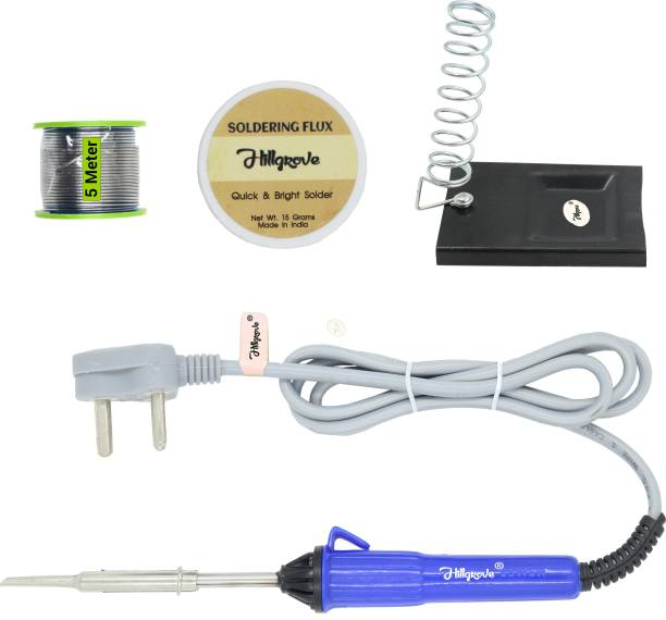 Hillgrove 4in1 Basic 25W Soldering Iron Kit with 5 Meter Soldering Wire, Soldering Flux, Stand 25 W Simple