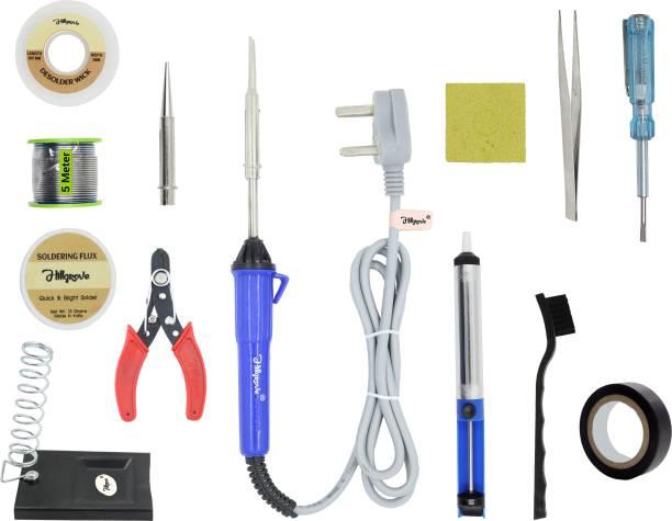 Hillgrove 13in1 Basic Complete 25W Soldering Iron Kit with 5 Meter Solder Wire, ESD Brush, Scrub, Pump, Cutter, Tester, Tweezer, Tape, Bit, Flux 25 W Simple