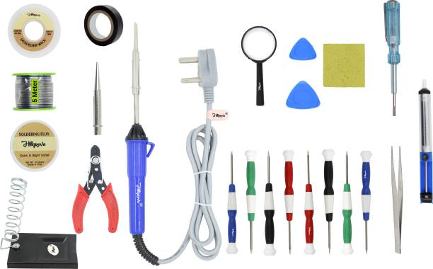 Hillgrove 23in1 Basic Complete 25W Soldering Iron Kit with 5 Meter Solder Wire, Scrub, Pump, Cutter, Tester, Tweezer, Tape, Bit, Flux,Screwdriver,Mobile Opener 25 W Simple