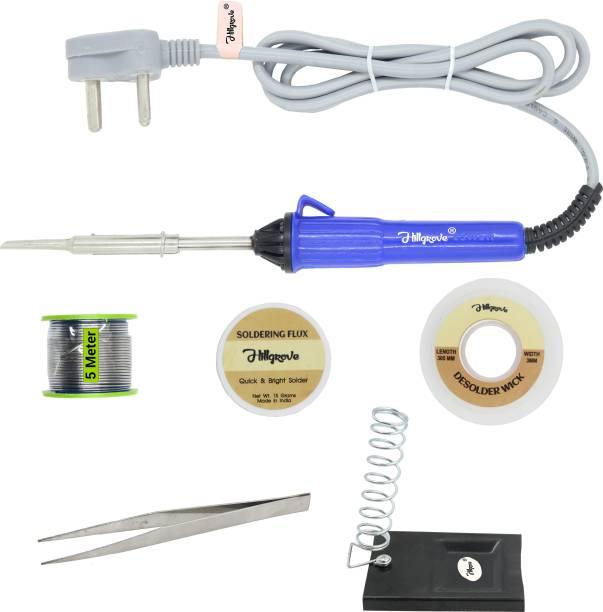 Hillgrove 6in1 25W Basic Soldering Iron Kit with 5 Meter Soldering Wire, Soldering Flux, Stand, Wick, Tweezer 25 W Simple