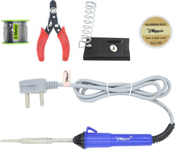 Hillgrove 5in1 Basic 25W Soldering Iron Kit with 5 Meter Soldering Wire, Soldering Flux, Stand, Wire Cutter 25 W Simple