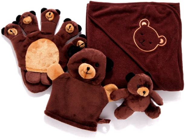 Magnusdeal Premium Extra Soft cartoon animal shape Hooded Bamboo Baby Bath Towel Set and Washcloth, Organic Hypoallergenic Towels, Boys & Girls, Ties on Parent's Neck, Sized from Infant to Toddler, Baby Shower Gift Set (4 Pcs Set)