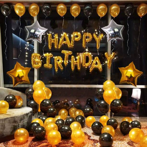 Rhythm Printed HAPPY BIRTHDAY GOLDEN SET OF 53 50 BLACK AND GOLDEN BALLOONS 2 STAR 18 INCH 1 HAPPY BIRTHDAY GOLDEN FOIL BALLOON Balloon