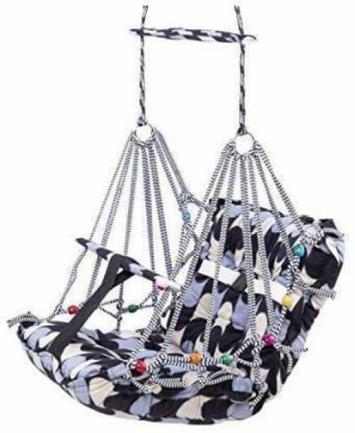 SADGURU CREATIONN Cotton Baby Swing for Kids Baby's Children Folding and Washable 1-7 Years with Safety Belt Home Garden Jhula for Babies for Indoor Outdoor Swings (Multicolor) Swings