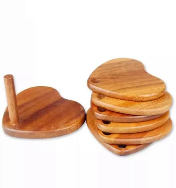 CloudNet India Heart Wood Coaster Set