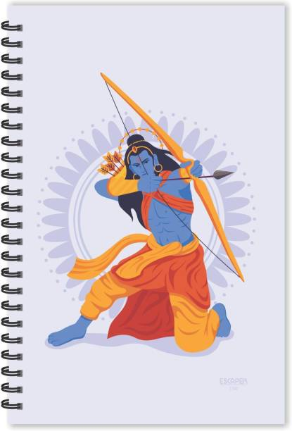 ESCAPER Lord Ram Agressive Cartoon Diary (Ruled - A5 Size), Lord Ram Diary, Devotional Diary A5 Notebook Ruled 160 Pages