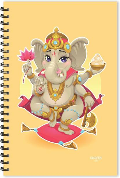 ESCAPER Lord Ganesh Cartoon Cream (Ruled - A5 Size), Ganesha Diary, God Diary, Devotional Diary A5 Notebook Ruled 160 Pages