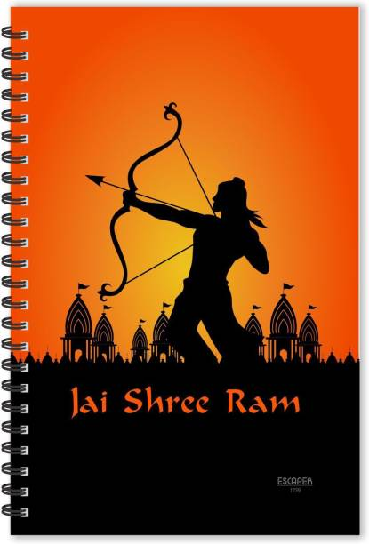ESCAPER Jai Shree Ram with Lord Ram designer God Diary (Ruled - A5 Size), Devotional Diary A5 Notebook Ruled 160 Pages