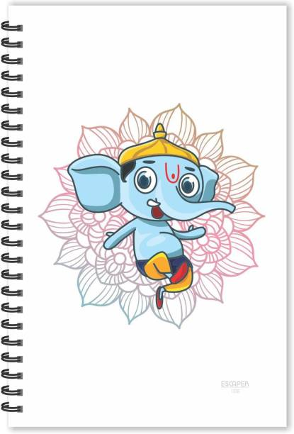 ESCAPER Lord Ganesh on Flower Cartoon Diary (Ruled - A5 Size), God Diary, Devotional Diary A5 Notebook Ruled 160 Pages