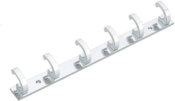 iSTAR Pack of 1 6 Pin Hook Stainless Steel Bathroom Cloth Hooks / Hanger / Key Holder / Door Wall Robe Hooks Rail for Hanging Keys, Clothes, Towel Hook Rail Door Hanger