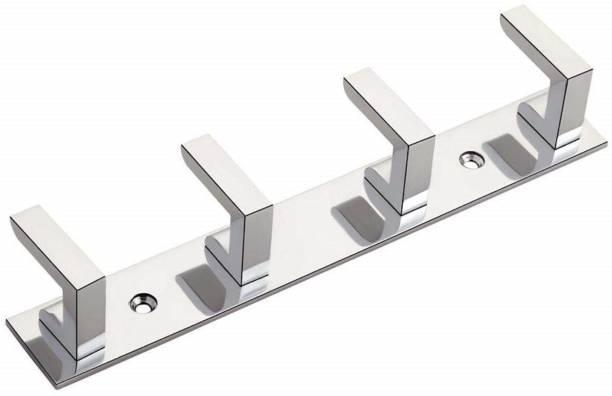 iSTAR 4 Pin Hook Stainless Steel Bathroom Cloth Hooks / Hanger / Key Holder / Door Wall Robe Hooks Rail for Hanging Keys, Clothes, Towel Hook Rail Door Hanger