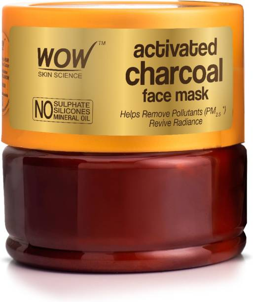 WOW SKIN SCIENCE Activated Charcoal Face Mask with PM 2.5 Anti-Pollution Shield No Parabens & Mineral Oil Wash Off Face Mask, 200mL