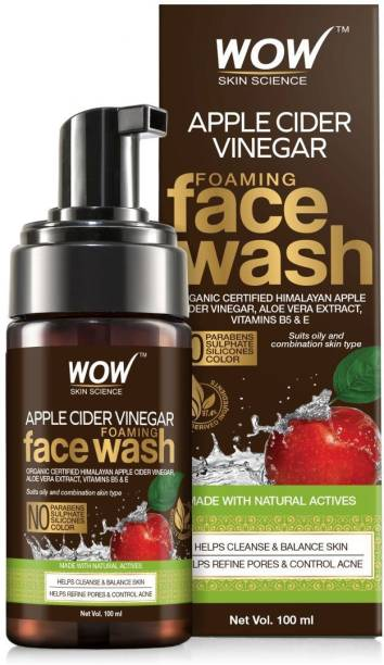 WOW SKIN SCIENCE Apple Cider Vinegar Foaming - with Organic Certified Apple Cider Vinegar - No Parabens, Sulphate & Silicones - 100mL Face Wash