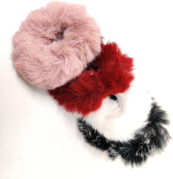 pretty Charming Fur Elastic Fluffy Faux Rope Furry Ring Hair Band Girls -4 Pieces Rubber Band with a surprised freebie Rubber Band