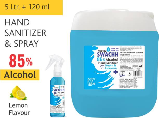 Austro Labs SWACHH HAND SANITIZER SPRAY LIQUID 5 LITER + 120 ML (PACK OF 2) (5 LTR) (5 LITRE) (REFILL PACK) ETHYL ALCOHOL 85% Sanitizer Spray Pump + Refill