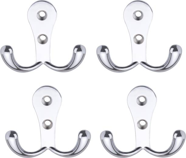 Flipkart SmartBuy Pack Of 4 -Glossy 2 Pin Cloth Hanger Bathroom Wall Door Hooks For Hanging keys,Clothes,towel Hook